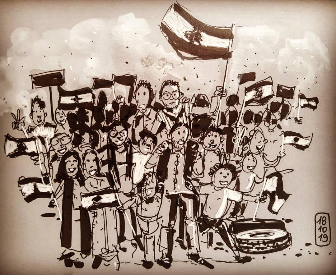 تصاميم ملهمة ووطنية تجسد أبرز مشاهد الاحتجاجات اللبنانية