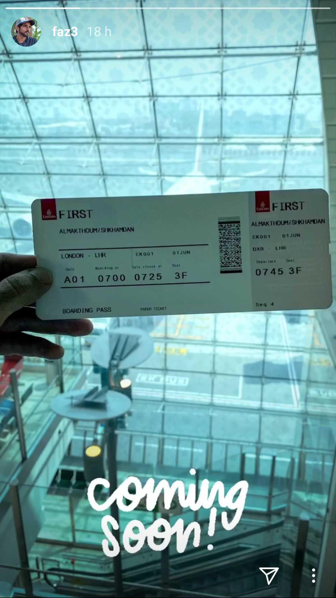 ولي عهد دبي يشارك تذكرة طيران متجهة إلى لندن تحمل اسمه ويقول: قادم قريباً