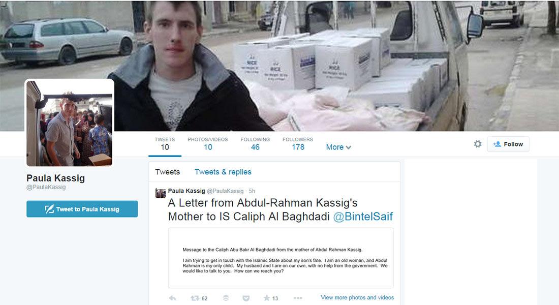 تغريدة من والدة الرهينة الأمريكي كاسيغ للبغدادي: عبدالرحمن وحيدنا ونريد معرفة مصيره