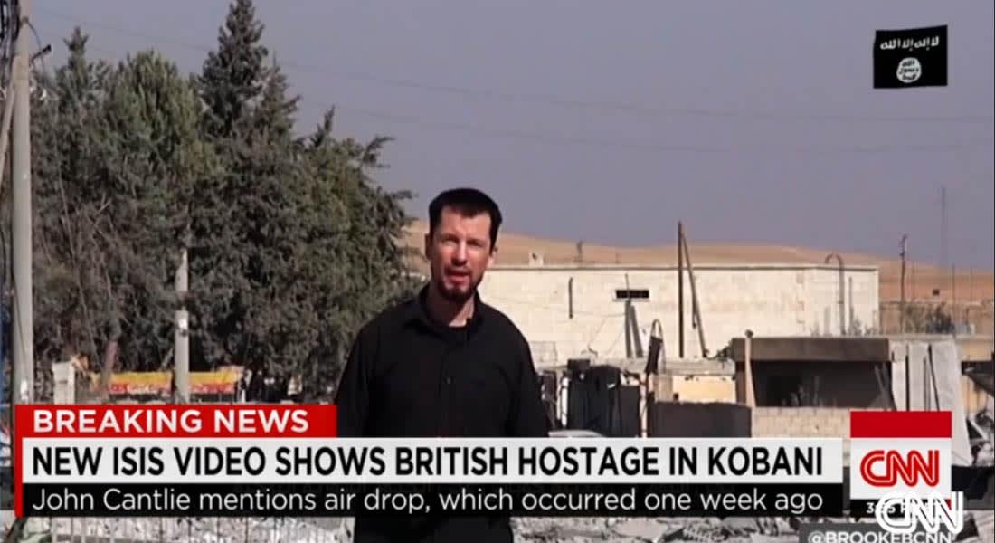 رهينة بريطاني يؤكد في تسجيل مصور لداعش أن التنظيم يسيطر على كوباني بالكامل