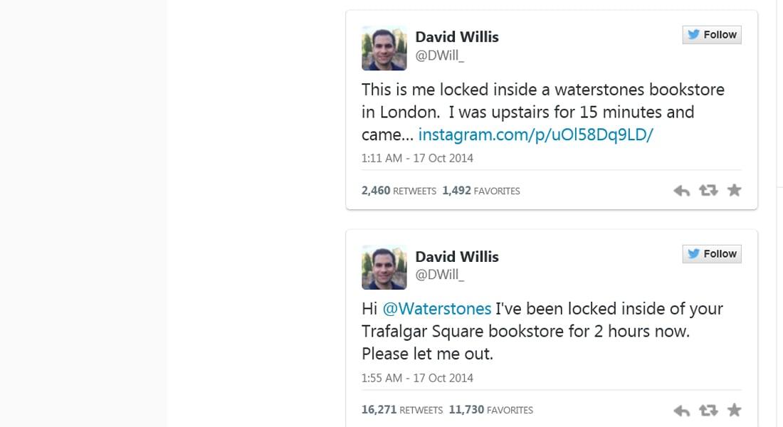 """تغريدات سائح أمريكي تنفذه بعد """"نسيانه"""" داخل محل بلندن"""