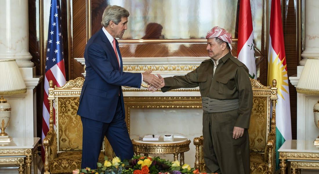 كيري يلتقي برزاني في إربيل... واستقلال كردستان على الطاولة