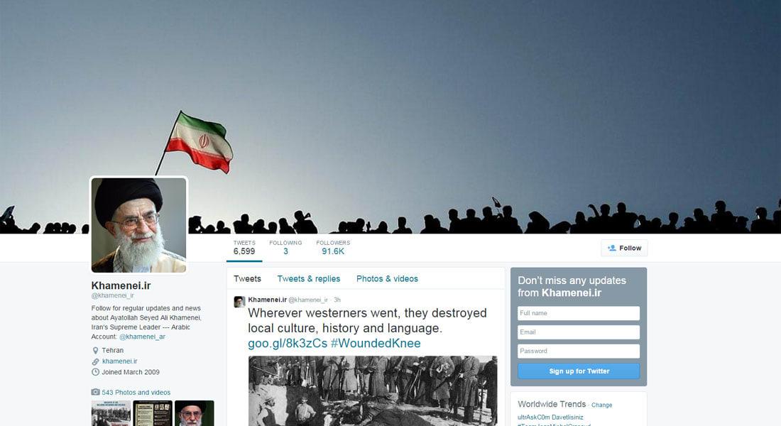 خامنئي يذم الشرطة الأمريكية بتغريدة مناصرة للسود ويشبه ما يجري بنيويورك بصراع الشرق الأوسط