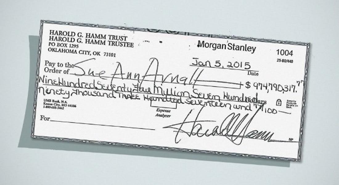 هل تصدق... زوجة ترفض شيكا بنحو مليار دولار؟