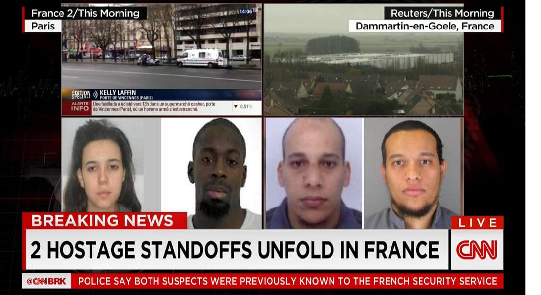 """فرنسا: ملاحقة """"بومدين وكوليبالي"""" وأنباء عن قتيلين في المواجهة مع محتجزي 6 رهائن"""