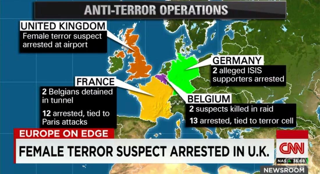 على الخارطة.. عمليات مكافحة الإرهاب في أوروبا