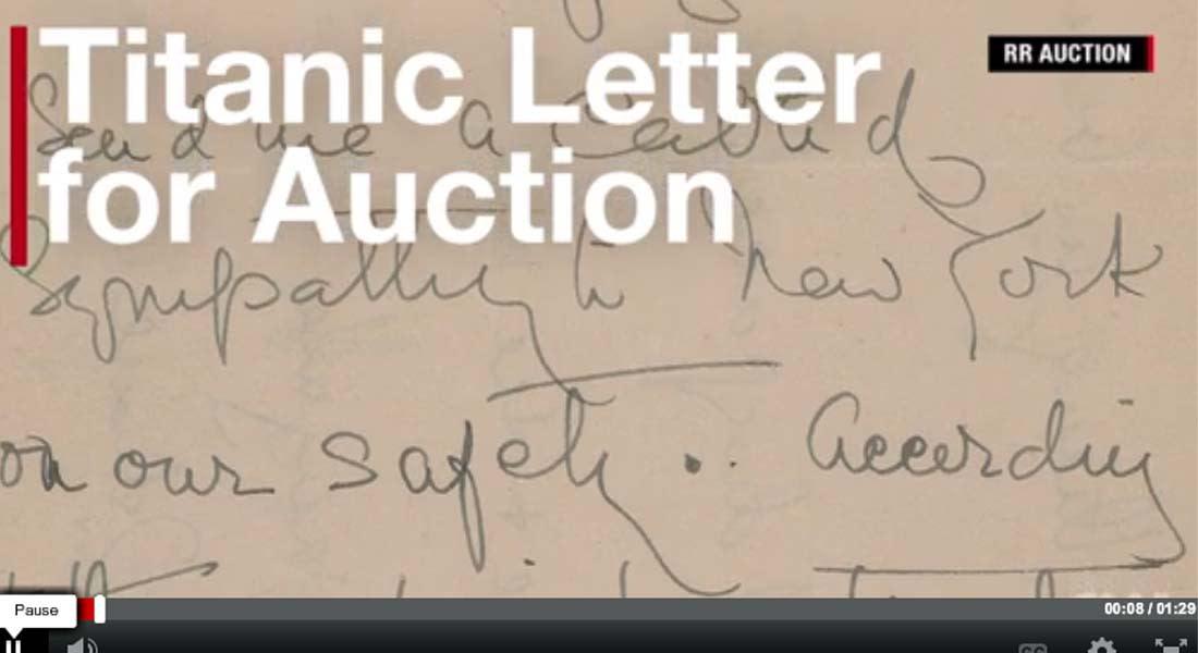 """بيع رسالة ناجية من """"تيتانيك"""" بواسطة """"قارب المال"""" بقرابة 12 ألف دولار"""
