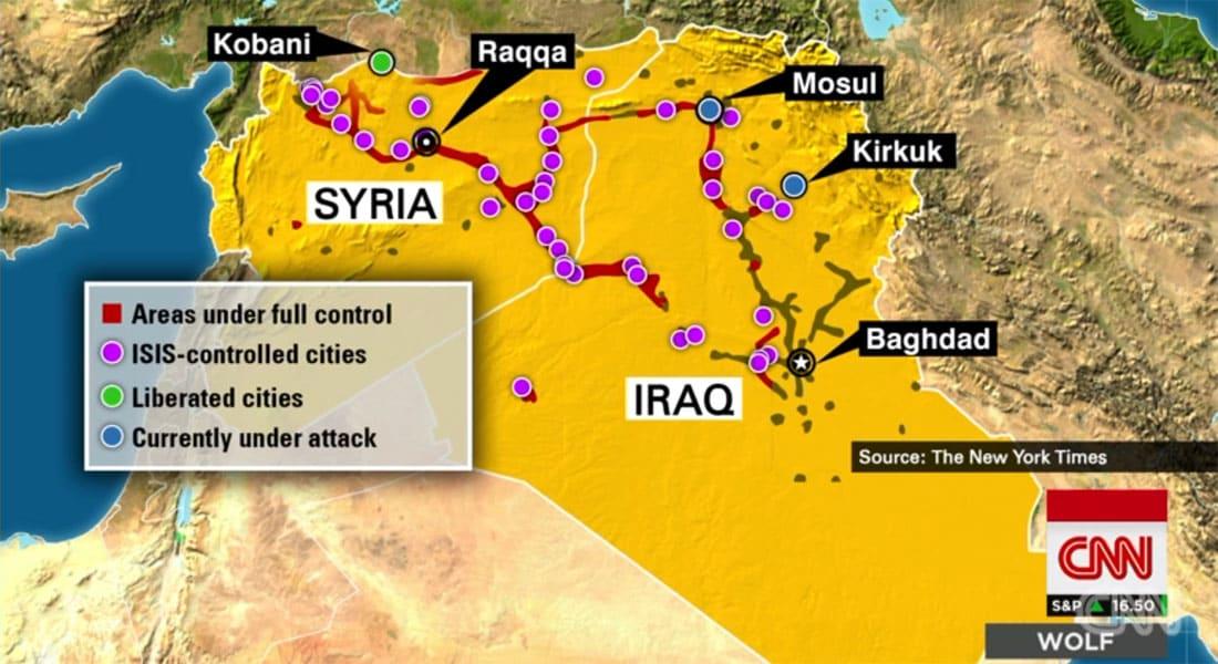 بآخر تحديث على الخريطة.. مناطق نفوذ داعش بالعراق وسوريا