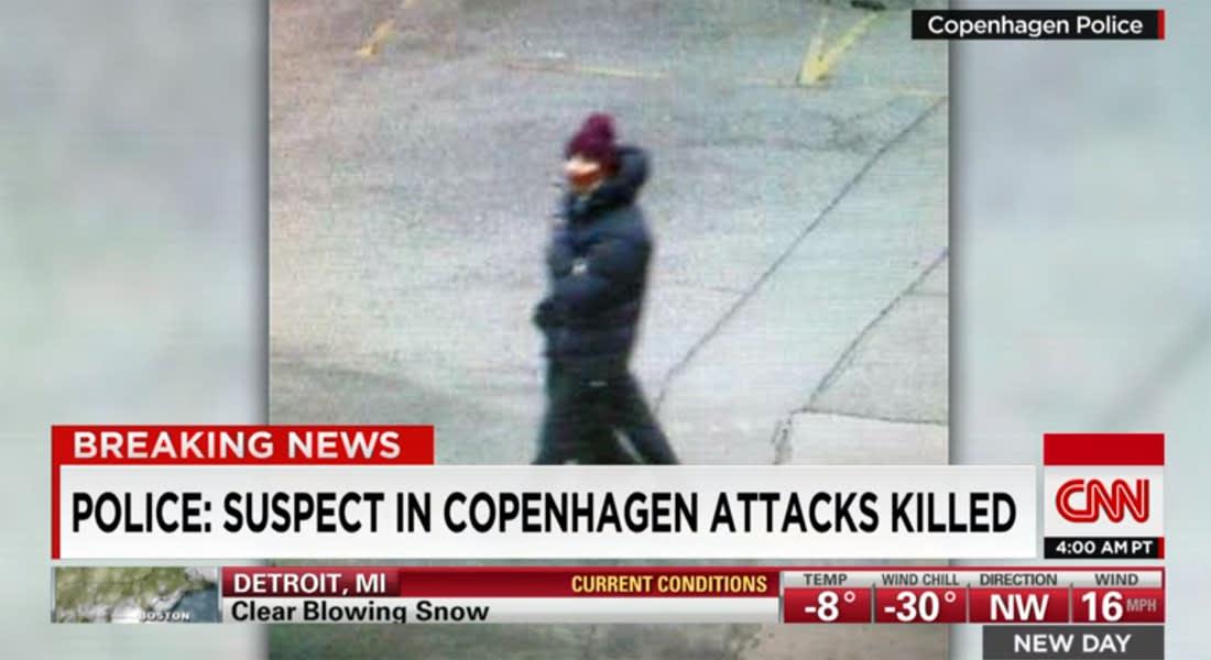 المكتب الإعلامي لرئيسة الوزراء الدنماركية يؤكد لـCNN اعتقال شخصين بمقهى للإنترنت قرب الموقع الذي قتل فيه المشتبه به بهجوم كوبنهاغن