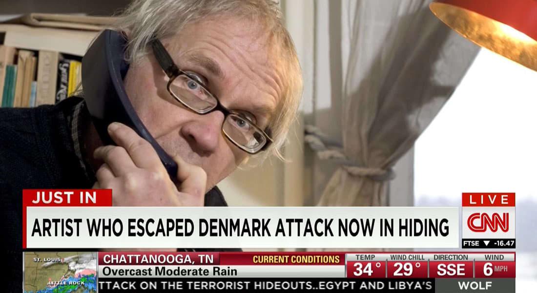 رسام الكاريكاتور المسيء للنبي محمد يؤكد لـCNN أنه يختبئ منذ هجوم كوبنهاغن للآن ويقول: لست خائفا