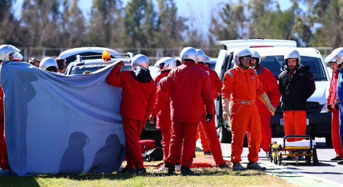 الإسباني فرناندو ألونسو يتعرض لحادث في تجارب F1  ببرشلونة