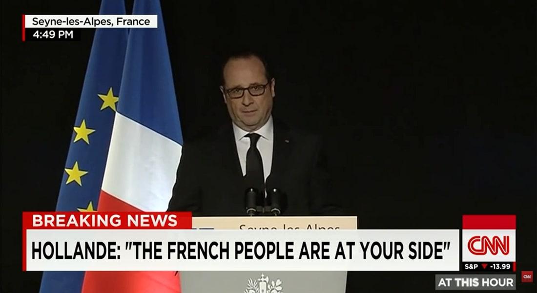 """الرئيس الفرنسي: لم يكن هناك إمكانية لإنقاذ رحلة """"جيرمان وينغز"""" المنكوبة"""