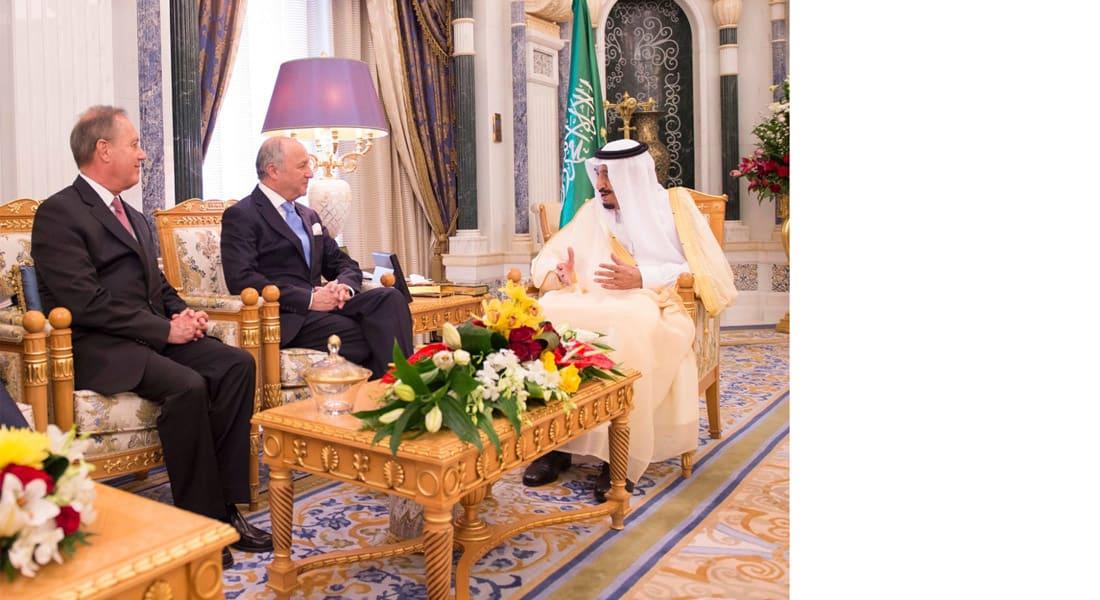 التقاه الملك سلمان بالرياض.. فابيوس يشهد توقيع مذكرة تفاهم بمجال الطاقة النووية مع السعودية