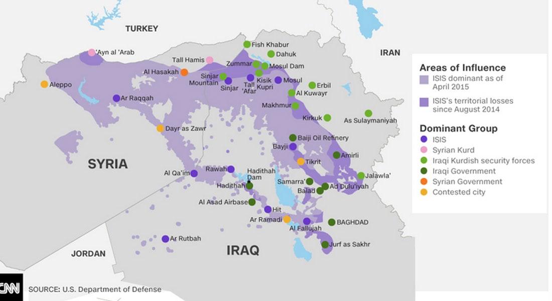 البنتاغون ينشر خريطة تبين المناطق التي يسيطر عليها داعش حتى ابريل الجاري