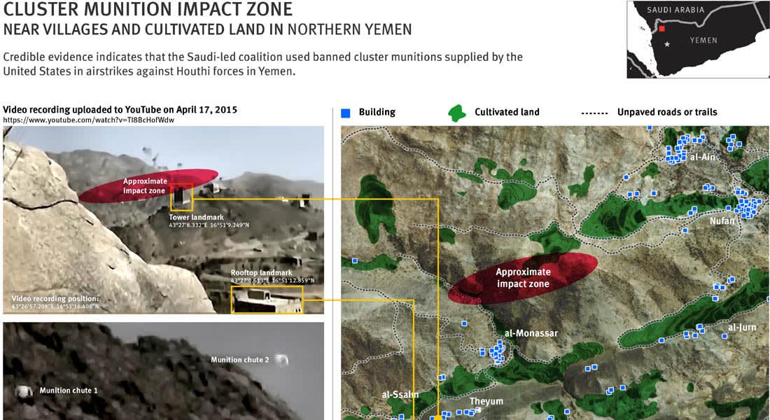 هيومن رايتس تتهم السعودية باستخدام ذخائر أمريكية محظورة في حربها ضد الحوثيين باليمن