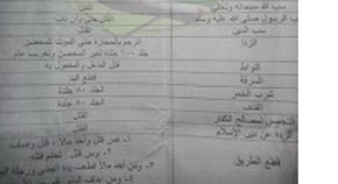 """لائحة """"حدود الله"""" يوزعها """"داعش"""" في الرقة وتتضمن الجرائم والعقوبات"""