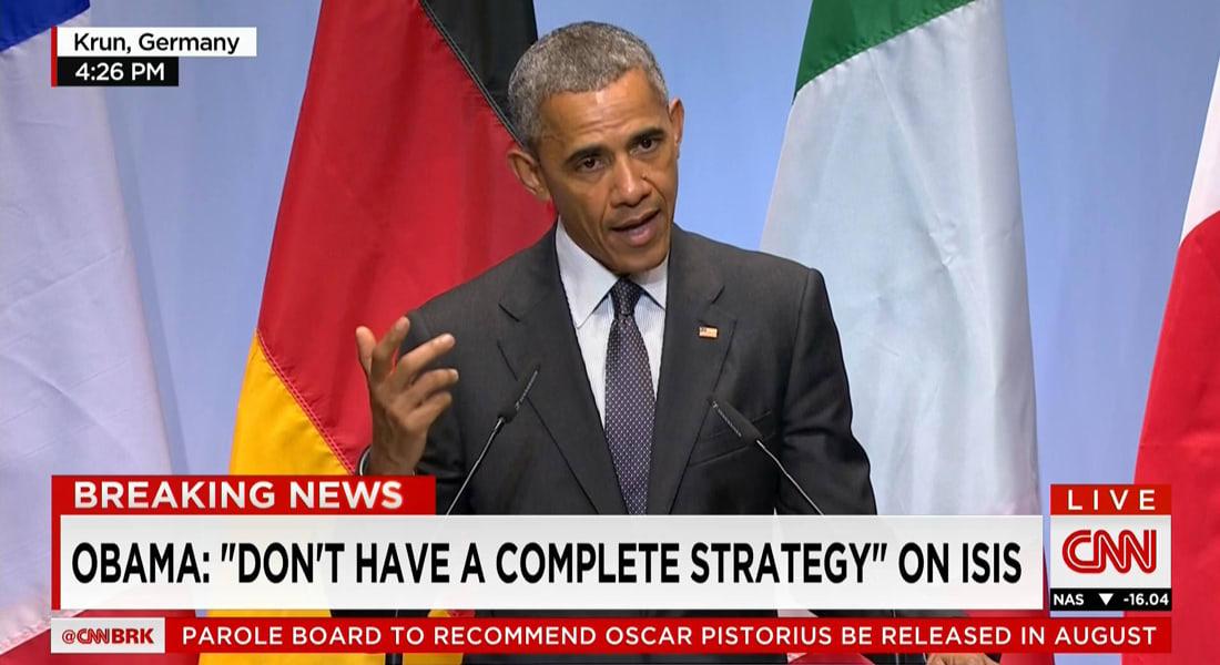 أوباما باجتماع G7: ليس لدينا استراتيجية كاملة ضد داعش.. ولا نزال نعمل على استراتيجية لتدريب القوات العراقية