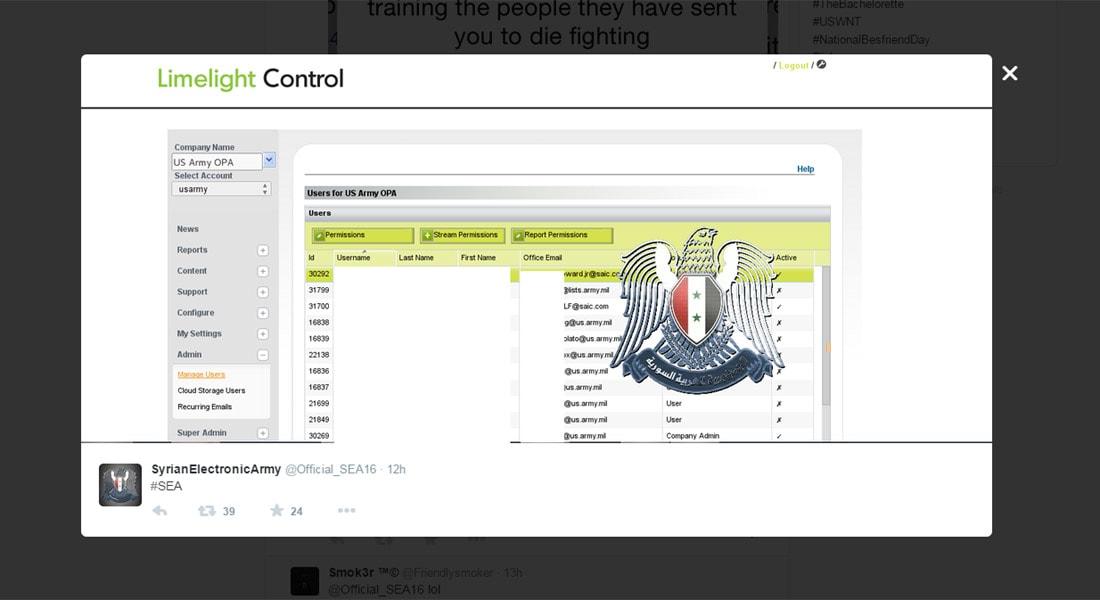"""الجيش الأمريكي يغلق موقعه الرسمي بعد هجوم من """"الجيش السوري الإلكتروني"""""""