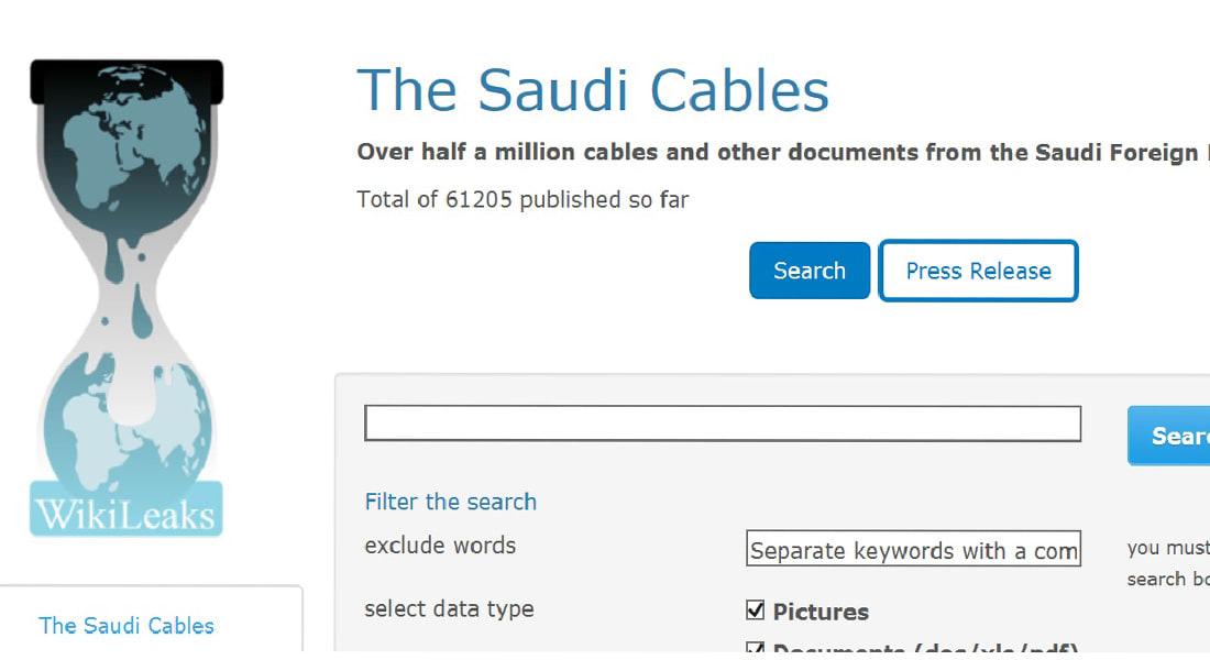 ويكيليكس ينشر أسرار الخارجية السعودية 70000 الدفعة الأولى من أصل 500000 وثيقة وبرقية مسربة