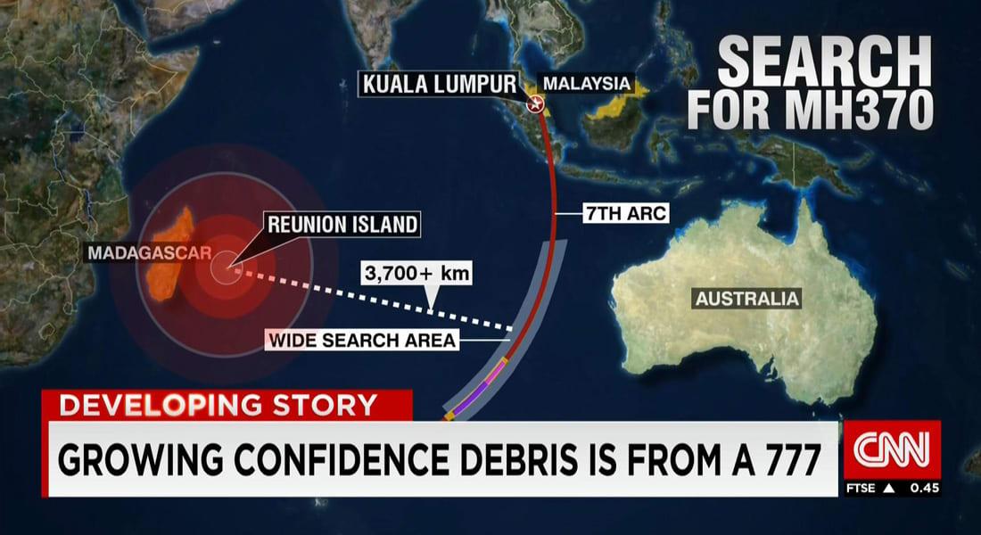 مسؤول استرالي لـCNN: ثقتنا تزداد بأن الحطام قبالة مدغشقر يرجع لـMH370.. وتحقيقات أولية تؤكد: قطعة الجناح ترجع لطراز بوينغ 777
