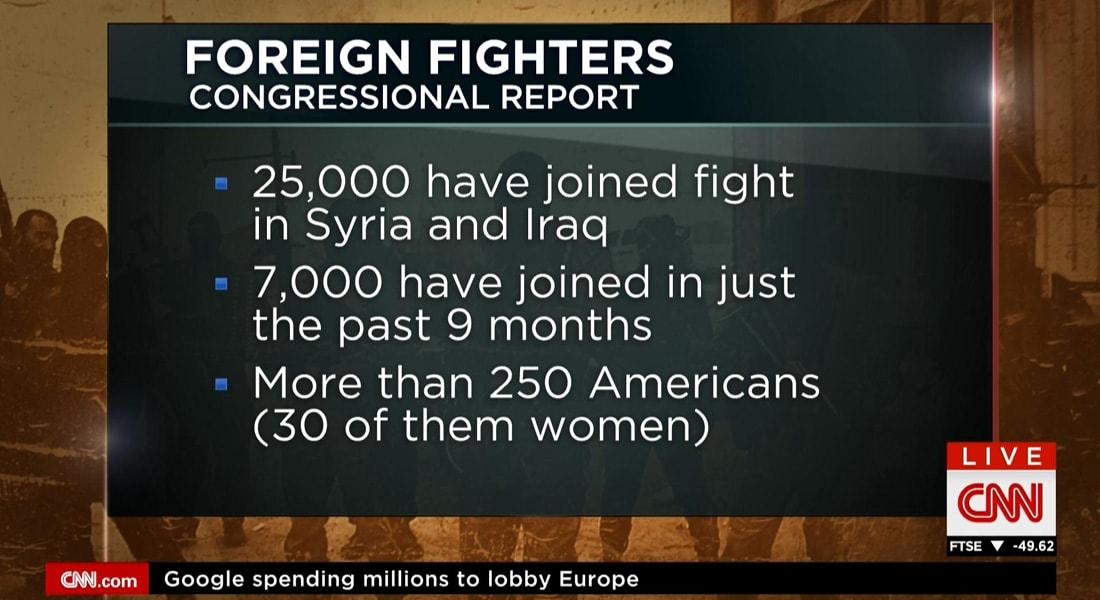 """تقرير عن الكونغرس: أمريكا فشلت بوقف تدفق المقاتلين الأجانب إلى داعش.. 7000 انضموا """"للجهاديين"""" بالأشهر الـ9 الماضية.. وهناك 250 أمريكي بينهم 30 فتاة"""