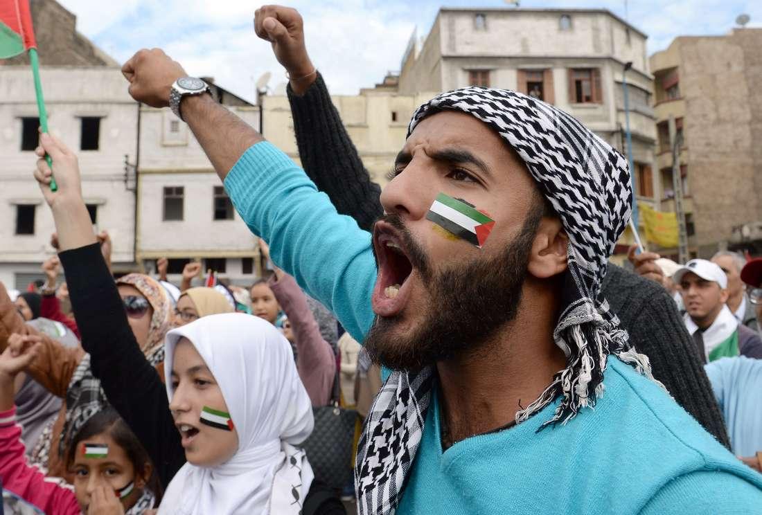 """آلاف المغاربة في مسيرة حاشدة تضامنًا مع الفلسطينيين ضد """"الاعتداءات الإسرائيلية"""""""
