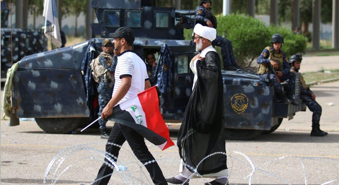 """العراق: المتظاهرون يغادرون المنطقة الخضراء """"احتراماً وتبجيلاً"""" لزيارة الإمام موسى بن جعفر"""