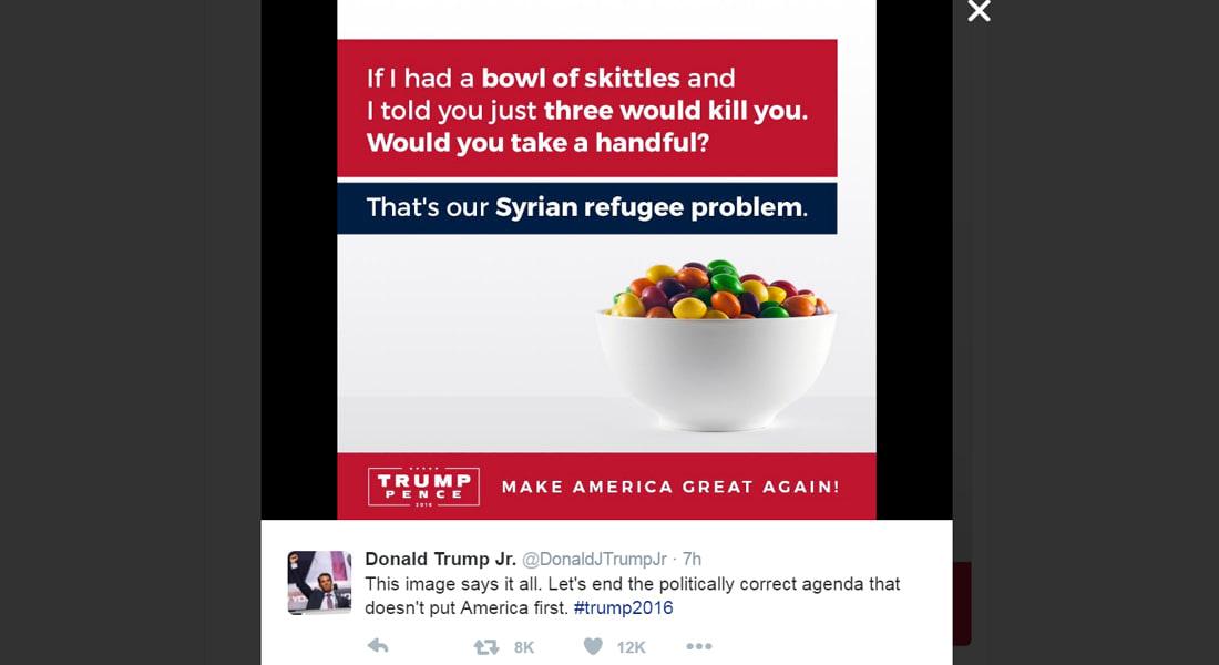 """إهانات آل ترامب تستمر.. ابن المرشح المثير للجدل يقارن اللاجئين السوريين بقطع حلوى """"سكيتلز"""""""