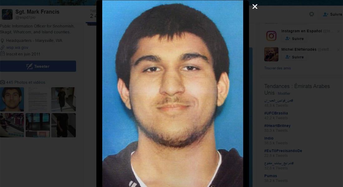الشرطة تنشر صورة للمشتبه به بإطلاق النار بواشنطن