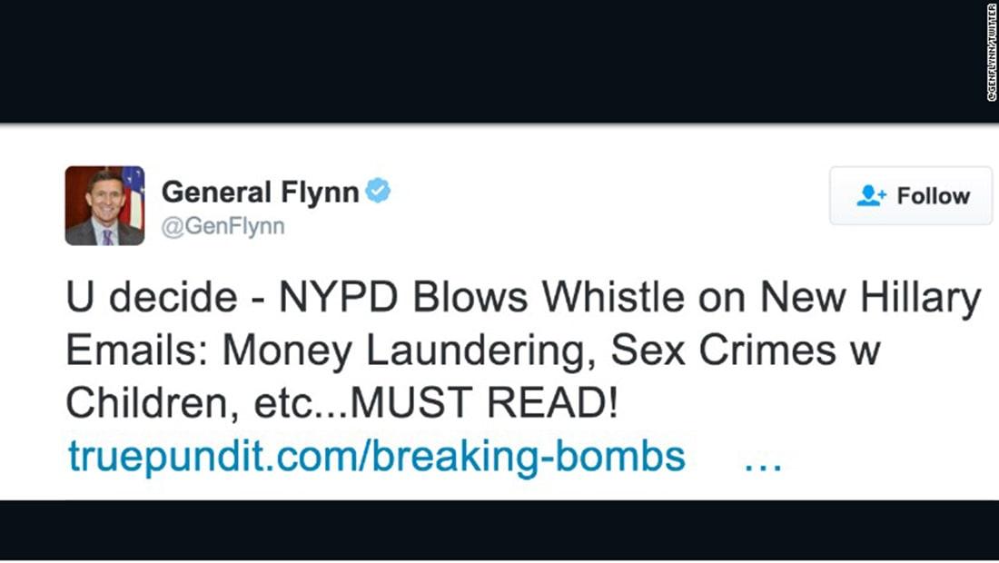 """مستشار ترامب للأمن القومي يحذف تغريدة عن اتهامات بـ""""جرائم جنسية"""" لهيلاري كلينتون"""