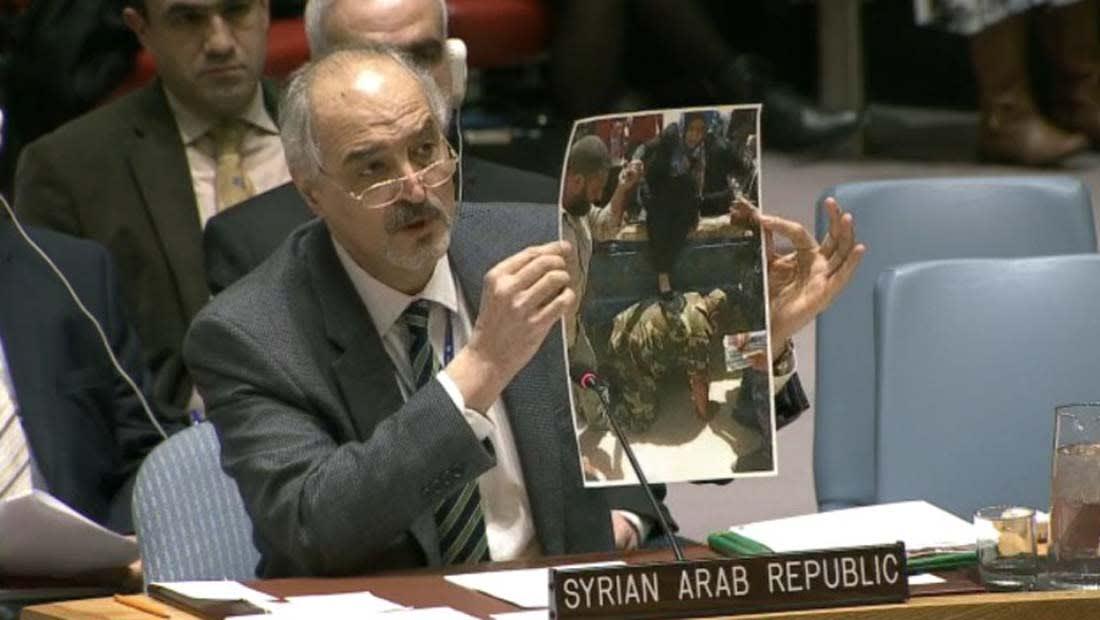 مندوب الأسد بمجلس الأمن يعرض صورة مزيفة من العراق ويزعم أنها بسوريا