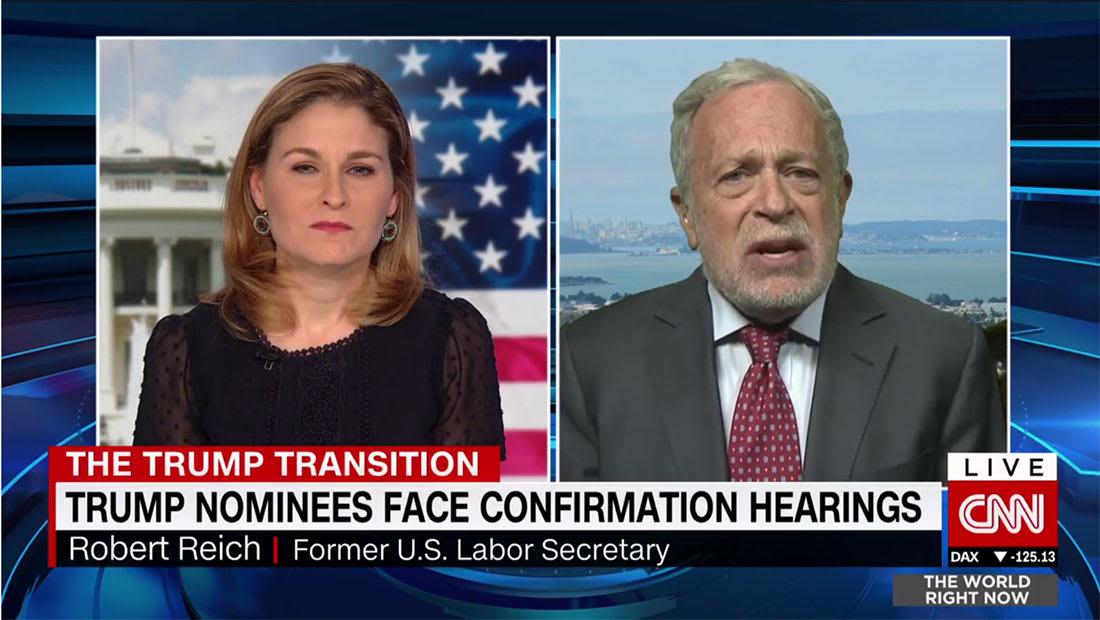 """وزير العمل الأسبق بأمريكا لـCNN: لا أتوقع زوال """"نرجسية"""" ترامب بعد دخول البيت الأبيض"""