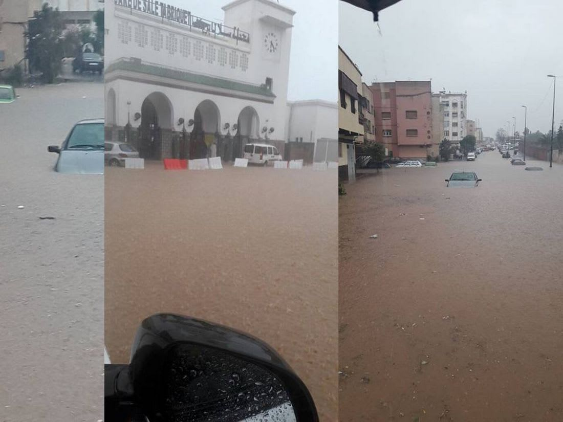 أمطار غزيرة في سلا المغربية.. شوارع وأزقة تتحوّل إلى برك