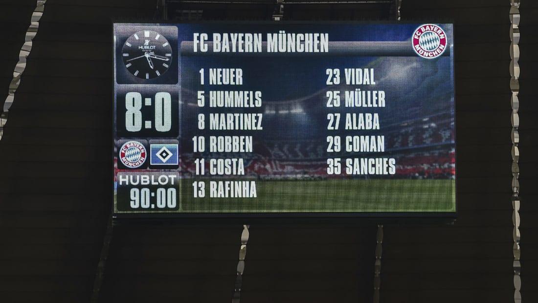 ثمانية أهداف للبايرن تتسبب بأكبر هزيمة لهامبورغ في تاريخ الدوري