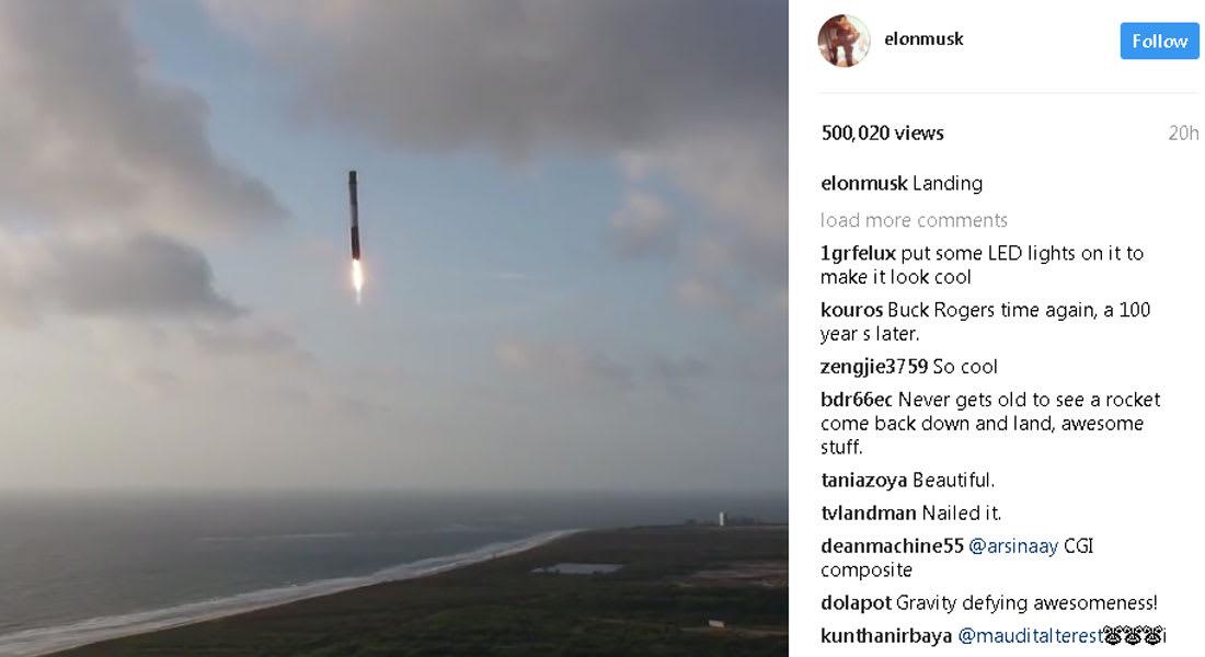 """شاهد كيف حطّ صاروخ """"سبيس إكس"""" بعد مهمة للاستخبارات الأمريكية"""