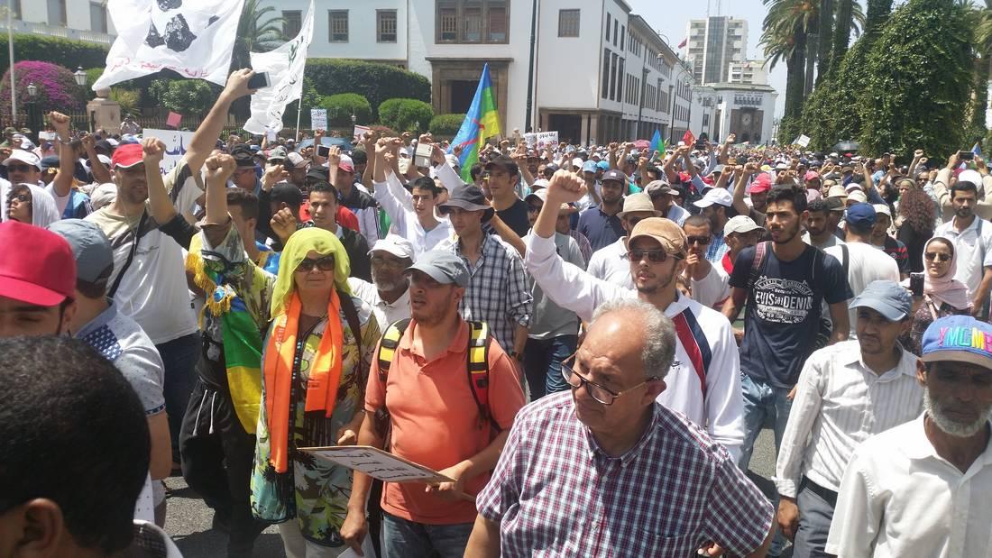 مسيرة حاشدة في عاصمة المغرب تضامنا مع حراك الريف