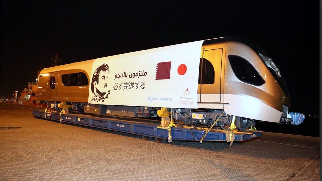 """قطر تستلم أول مجموعة من قطارات """"مترو الدوحة"""" بعد رحلة 21 يوما بالبحر"""