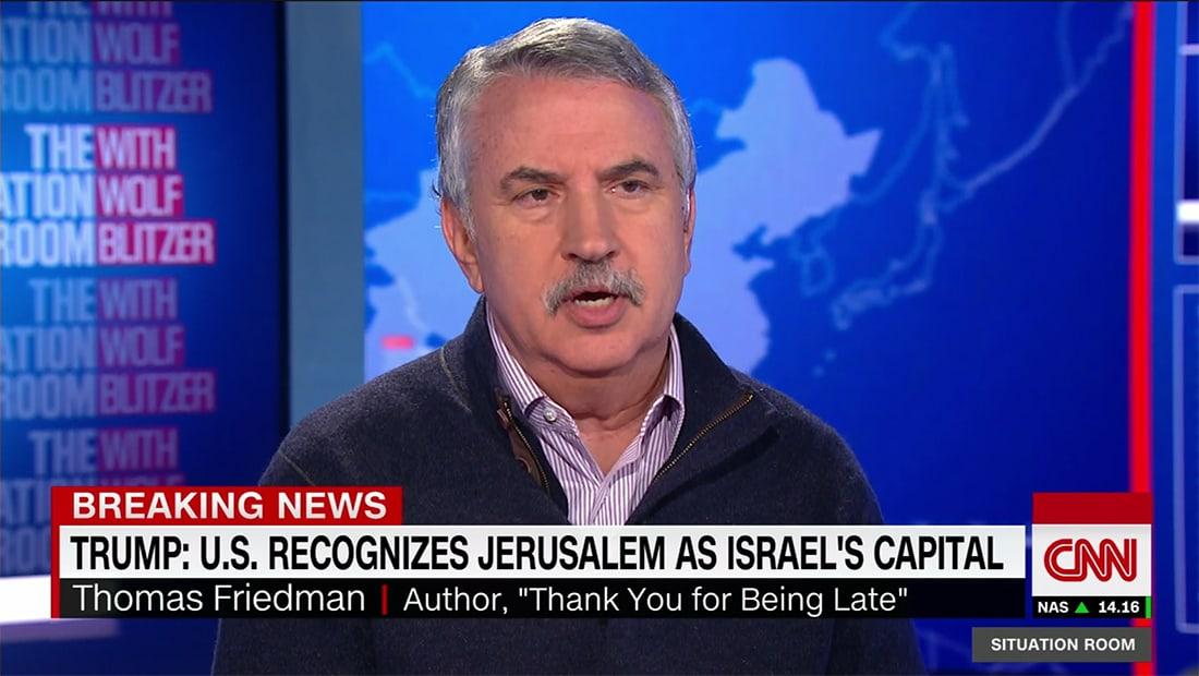 فريدمان لـCNN: ترامب قدم جوهرة تاج سياسة أمريكا الخارجية دون مقابل بإعلان القدس عاصمة إسرائيل