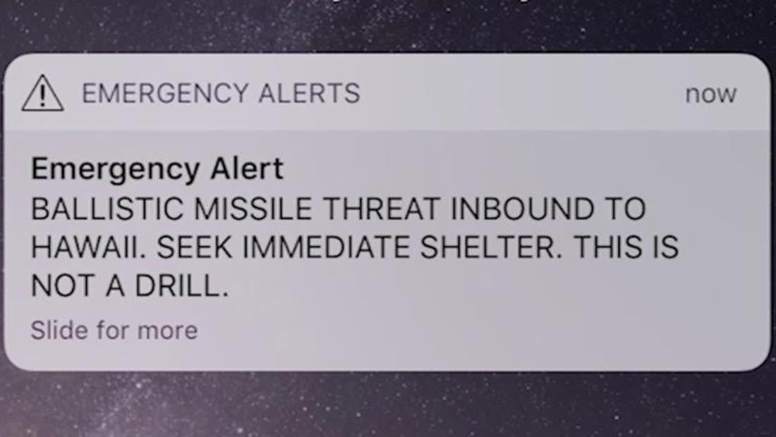إنذار كاذب بقرب سقوط صاروخ بالستي يصيب هاواي بالذعر