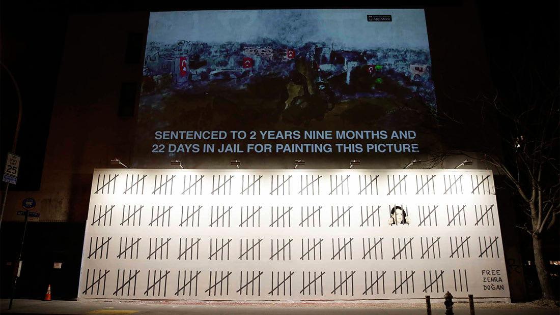 بانكسي يوجه رسالة لأردوغان.. بجدارية جديدة لدعم فنانة تركية مسجونة