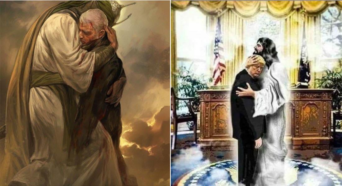 """صورة """"المسيح يحضن ترامب"""" ردا على """"الحسين يحضن سليماني"""" بين نشطاء بتويتر"""