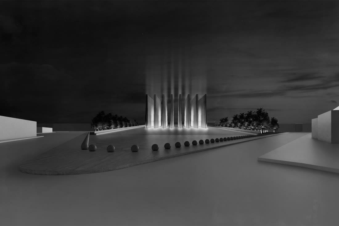"""نصب """"Le """"Memorial des Martyrs التذكاري في نيامي، النيجر"""