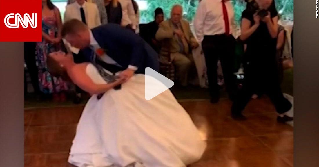 شاهد ما حدث لعروس ترقص بشكل عنيف في حفل زفافها