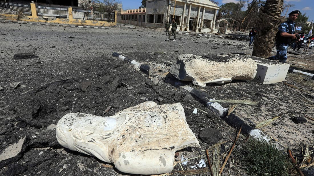 النظام السوري ينشر فيديو لمناطق بتدمر كانت تحت سيطرة داعش