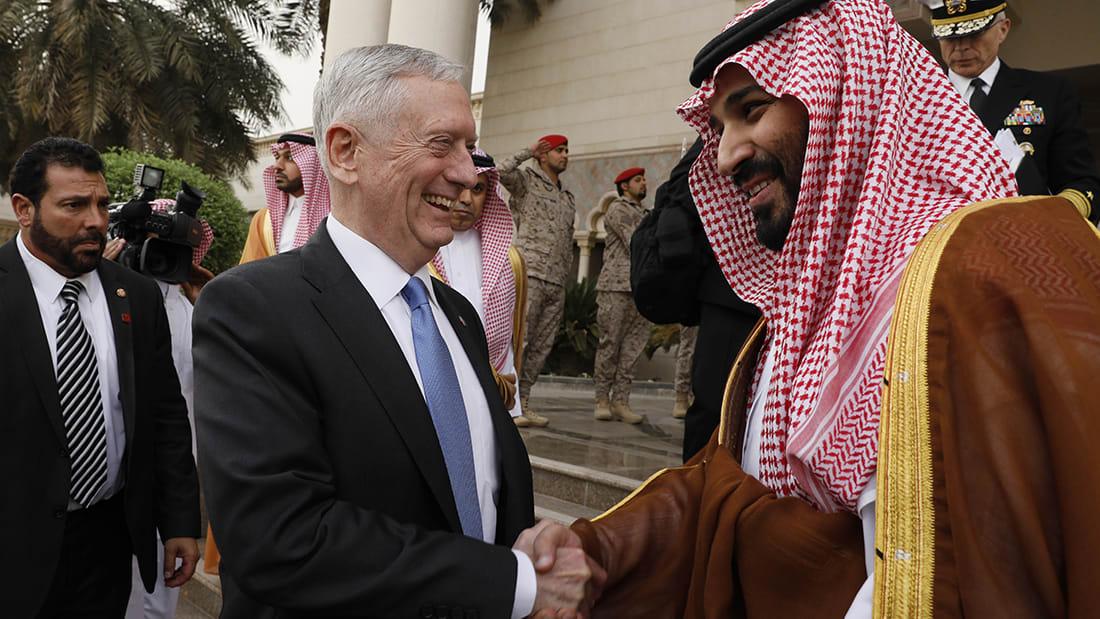 """محمد بن سلمان لـ""""ماتيس"""": سنعمل معا لمواجهة تصرفات إيران"""