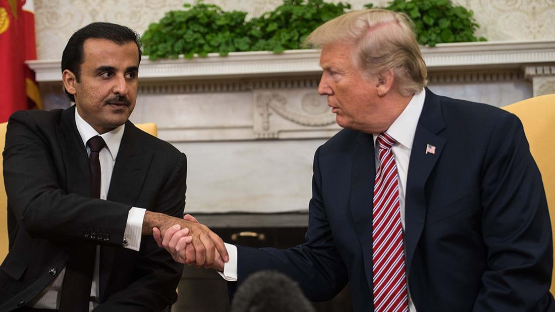 شاهد.. أمير قطر يلتقي بترامب في واشنطن