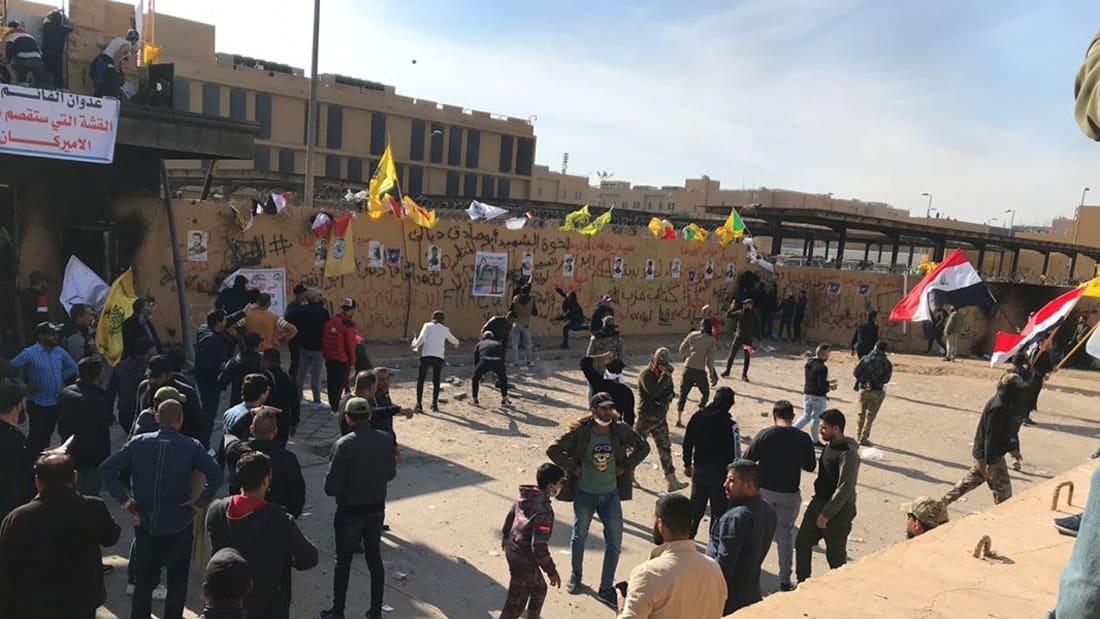 لحظة وصول قوات مارينز لمقر سفارة أمريكا في بغداد