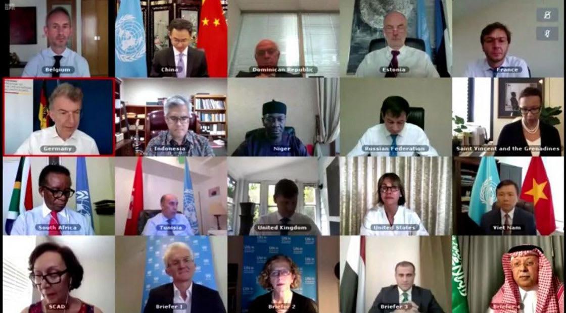 من جلسة مجلس الأمن الافتراضية حول اليمن 15 يوليو 2020