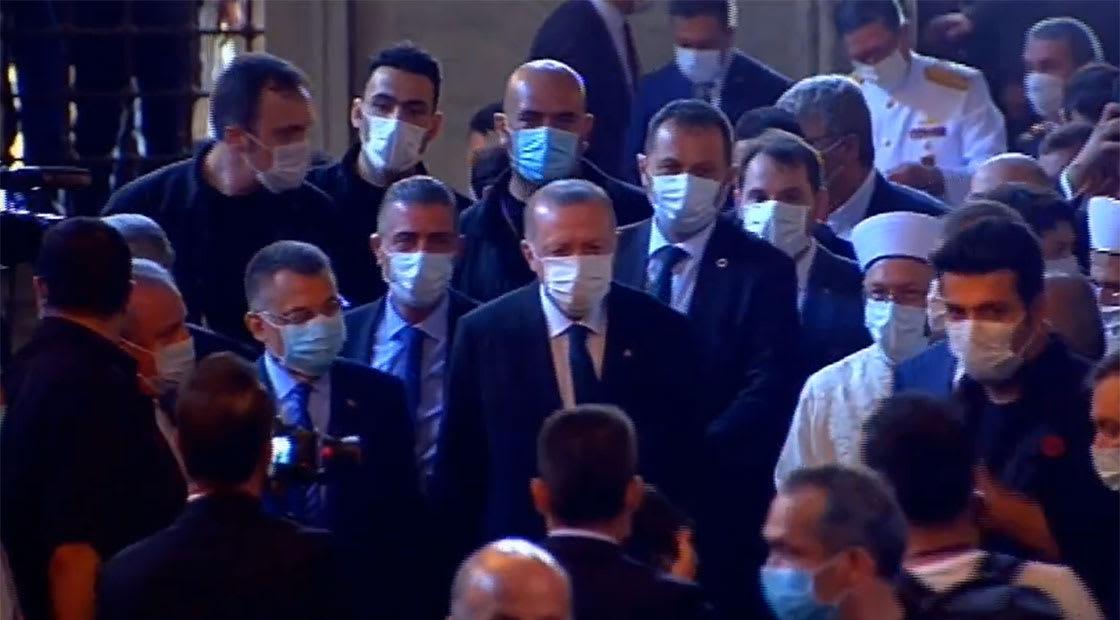 الرئيس التركي، رجب طيب أردوغان في آيا صوفيا لصلاة الجمعة