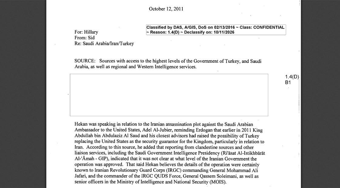 """رسائل كلينتون.. """"استبدال أمريكا بتركيا لحماية السعودية من إيران ومحاولة اغتيال الجبير """""""